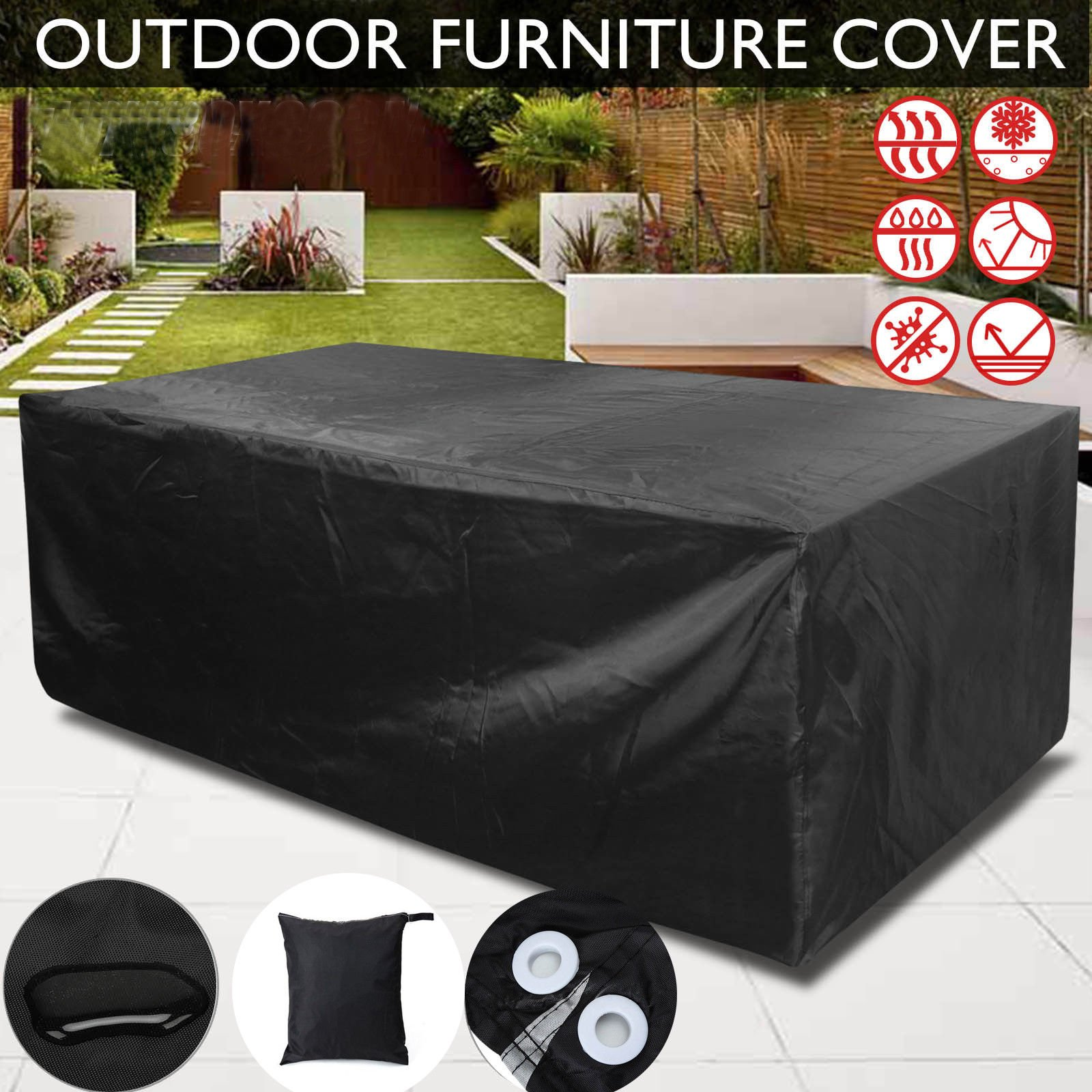 PESTORY 210D Heavy Anti Dust UV Rain Cover Outdoor Furniture Cover Waterproof Dustproof Cube Table Chair Cover (27018089cm)