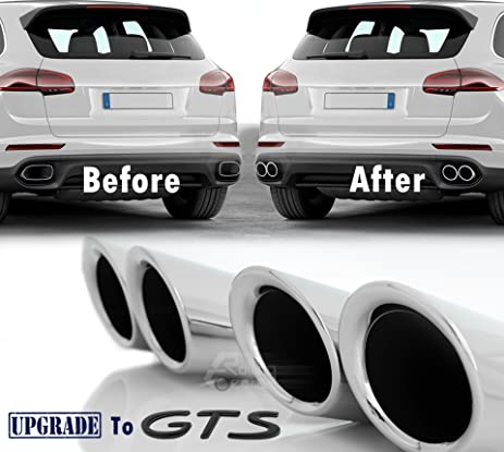 Amazon gts look exhaust muffler tips upgrade for porsche gts look exhaust muffler tips upgrade for porsche cayenne 9582 v6 engine 2015 17 malvernweather Image collections