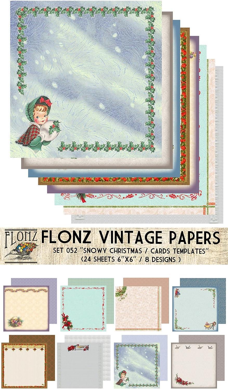 Flonz Paper Pack 30blatt 30x30cm Christmas Cards Templates Vintage Muster  Papier fur Scrapbooking und Handwerk