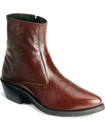 Amazon.com | Old West Men's Zipper Western Ankle Boot Black Cherry ...