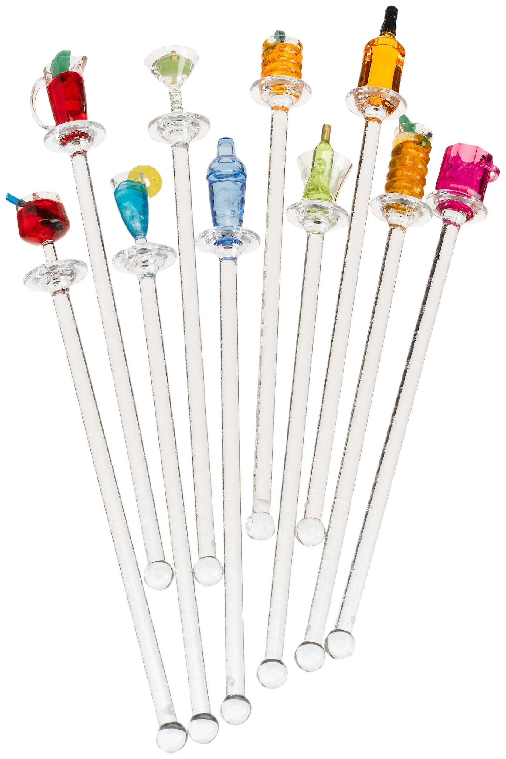 Prodyne S-10-H Happy Hour Swizzle Sticks. Clear Shafts, Set of 10