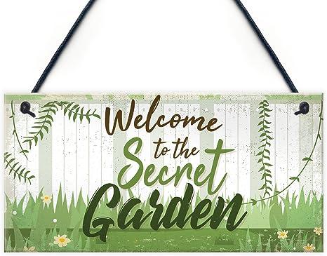 Yardwe Welcome to My Garden Sign Hanging Garden Sign Shed Summerhouse Plaque Hanging Wall Art Door Decor for Indoor Outdoor Garden Rosy Flower