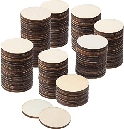 Boao 200 Pieces Unfinished Wood Slices Round Disc Circle Wood Pieces Wooden Cutouts Ornaments for Craft and Decoration 1 Inch