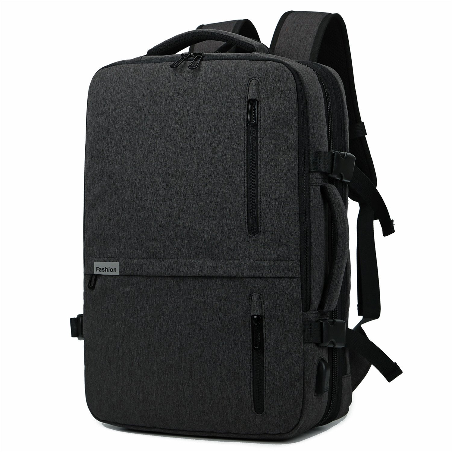 35L Expandable Carry On Laptop Backpack Weekender Overnight Trip Tote Bag with USB Charging Port Luggage Compartment Smart Organizer Flight Approved (Black)