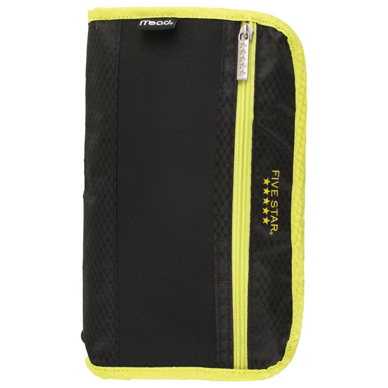 Five Star Pencil Pouch, Pen Case, Fits 3 Ring Binders, Xpanz, Black/Yellow (50206CC8)