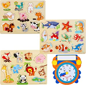 Wooden Peg Puzzles for Toddlers and Babies – (Pack of 3 with Learning Clock) Animal Chunky Educational Preschool Puzzles for Toddlers 1 2 3 Year Old Kids Boys Girls Babies 12 18 36 Months Children