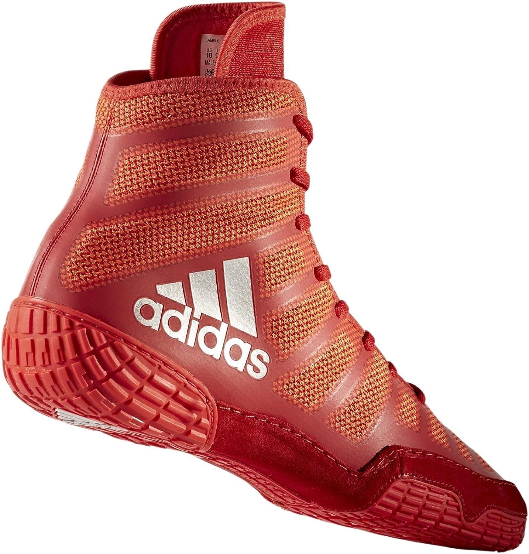 Adidas Adizero Varner Lucha de zapatos, negro real / blanco /, 4 M con nosotros Rojo Plateado