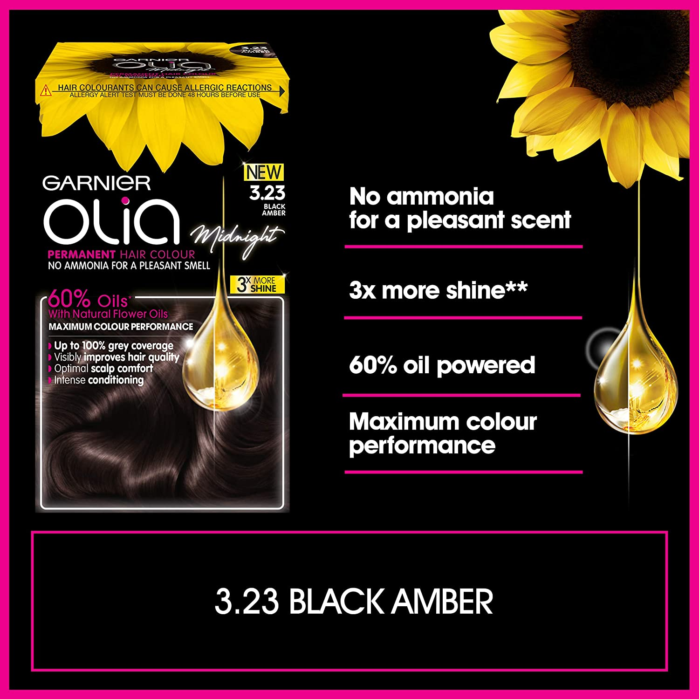 Garnier Olia Tinte para el cabello negro permanente, hasta 100% cobertura de cabello gris, sin amoníaco para un aroma agradable, 60% aceites, Olia ...