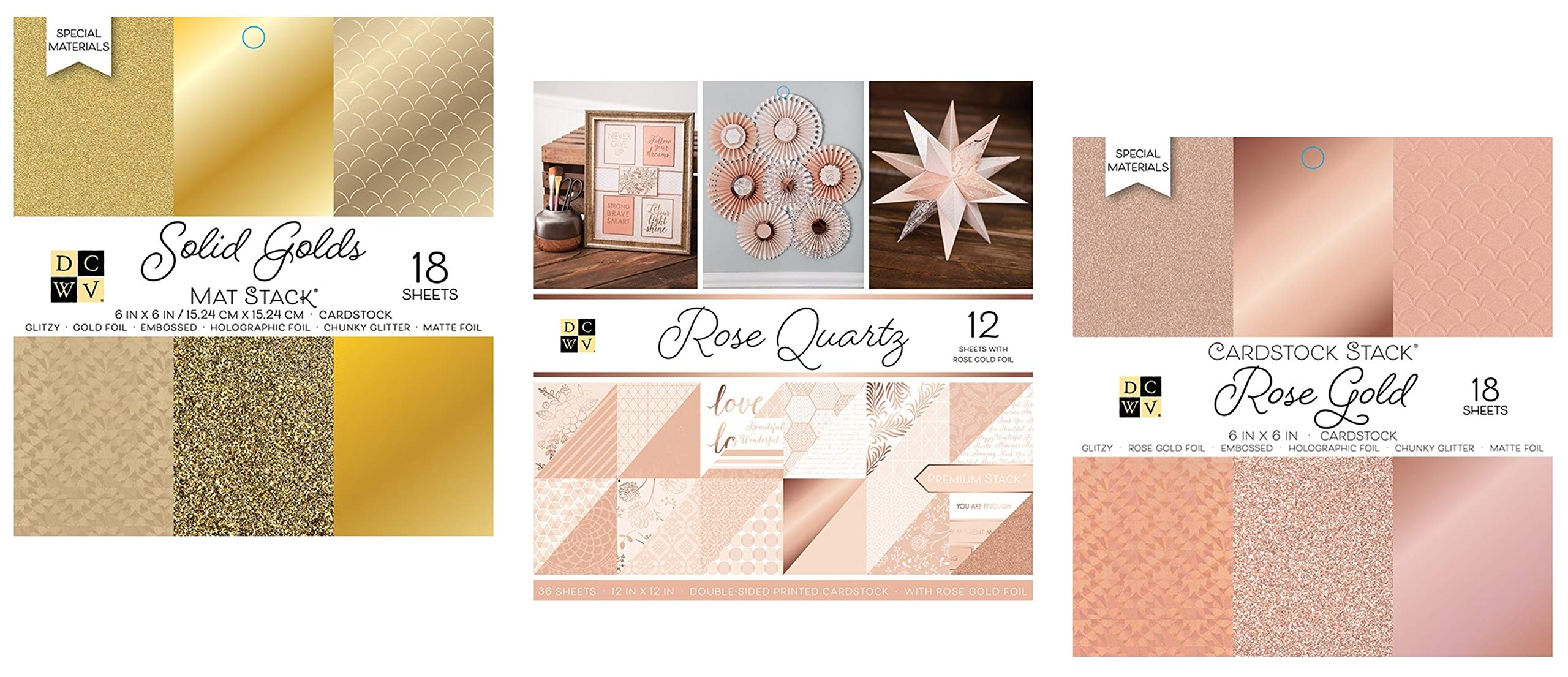 72 Sheets Mix of 6x6 and 12x12 Inch Rose Gold and Gold Cardstock Paper | Metallic, Glitter, White, Shimmer, Matte | Heavy Card Stock for Scrapbook, Origami, Cards, Invitations | 3 Stacks Set by DCWV by Generic