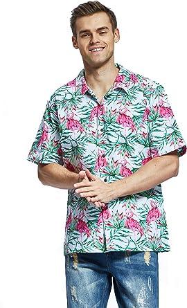Camisa Hawaiana Hawaii para Hombres con Mangas Hawaianas Camisa Camisa Hawaiana de la Navidad Flamingo en Amor: Amazon.es: Ropa y accesorios