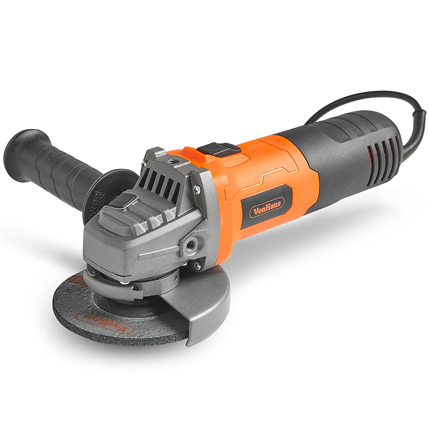 VonHaus 750W Angle Grinder with 115mm Grinding Disc, Side Handle, Protection Switch, Safety Guard & Spanner for Disc Attachment – for Removing Paint & Mortar, Sanding, Cutting, Grinding Or Polishing