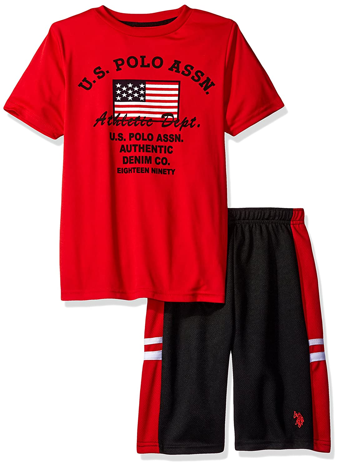 U.S. Polo Assn. Boys' Interlock Graphic T-Shirt with Close Hole Mesh Sport Short 0512