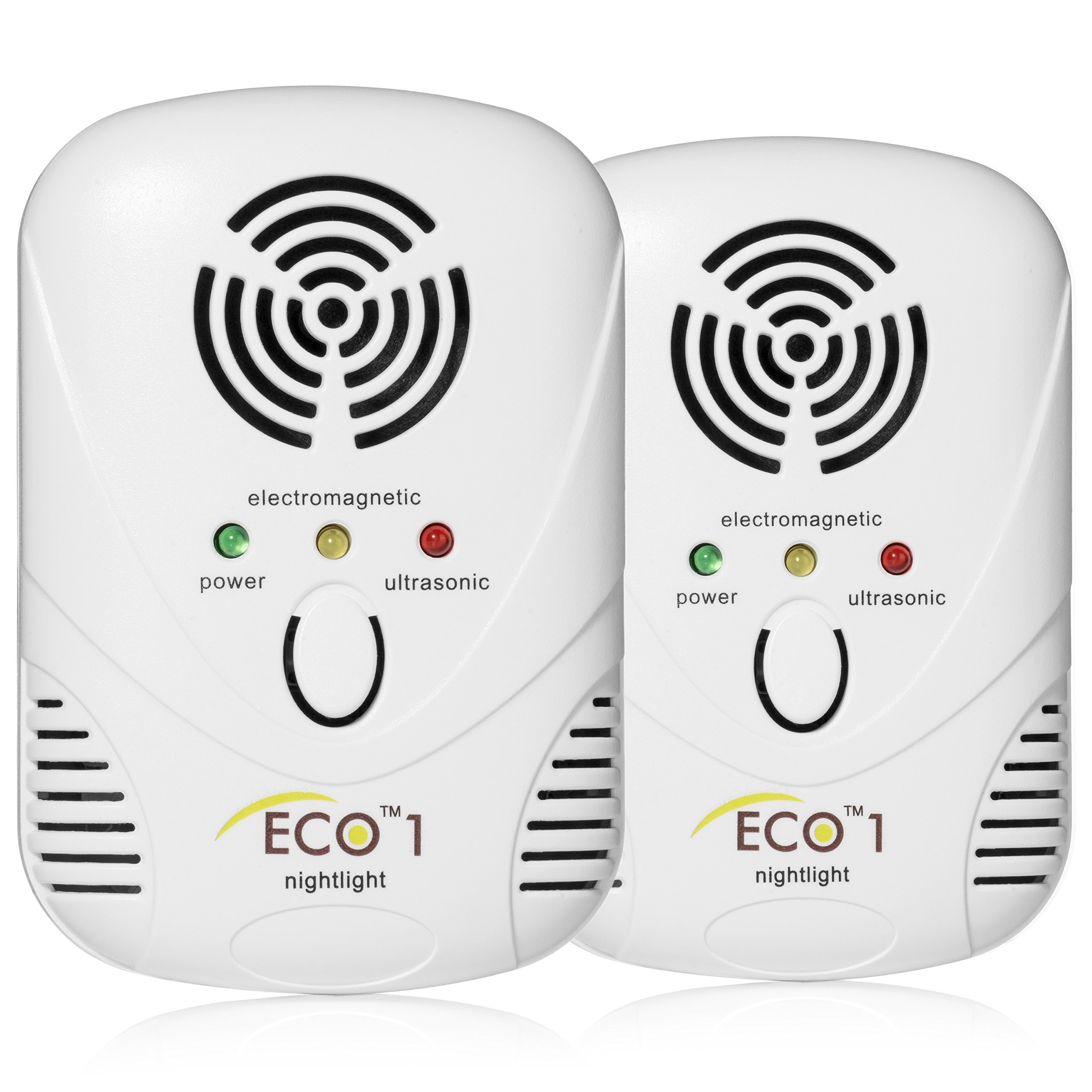 ECO 1 Ultrasonic Electromagnetic Pest Repeller Plug In with LED Night Light - Chemical Free Powerful In Door Repellent for Mice, Cockroaches, Ants, Mosquitoes, Rodents and more by East Allen Bay