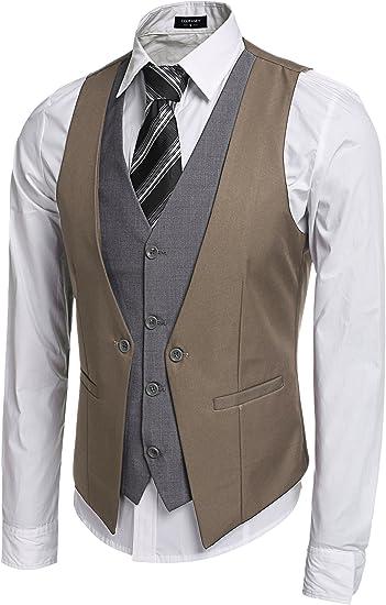 Coofandy Gilet de Costume Homme /à Boutonnage Patchwork Poche Faux Avant S-XXL