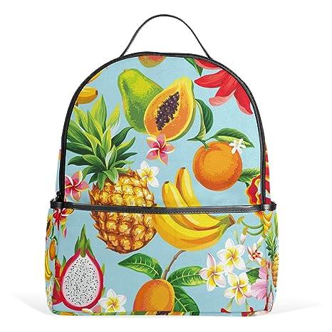 ALAZA Las Frutas Tropicales Flores Mochila de Verano para School Bookbag