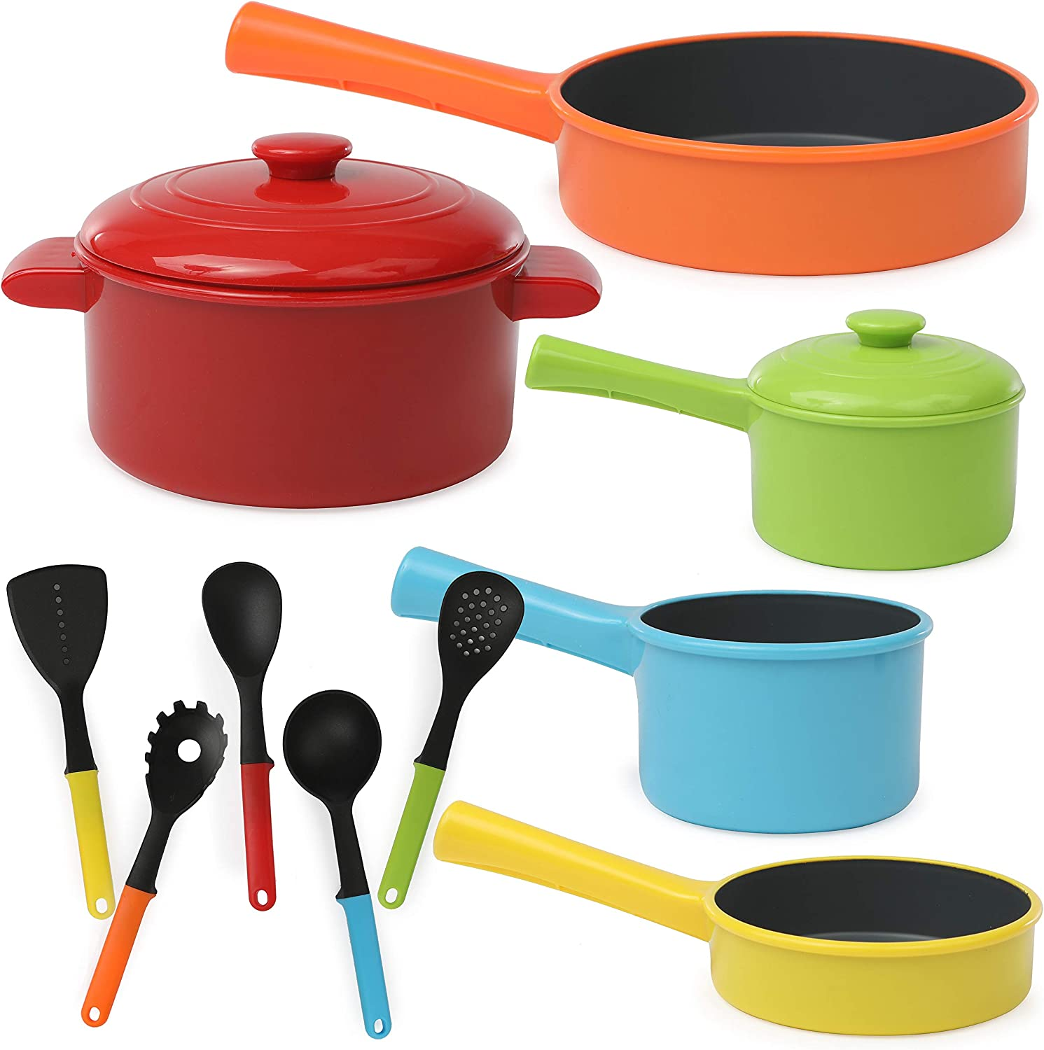 IQ Toys Play Pots and Pans Toys for Kids - Pretend Play Kitchen Cookware Playset, Brightly Colored Set, 12 Pieces