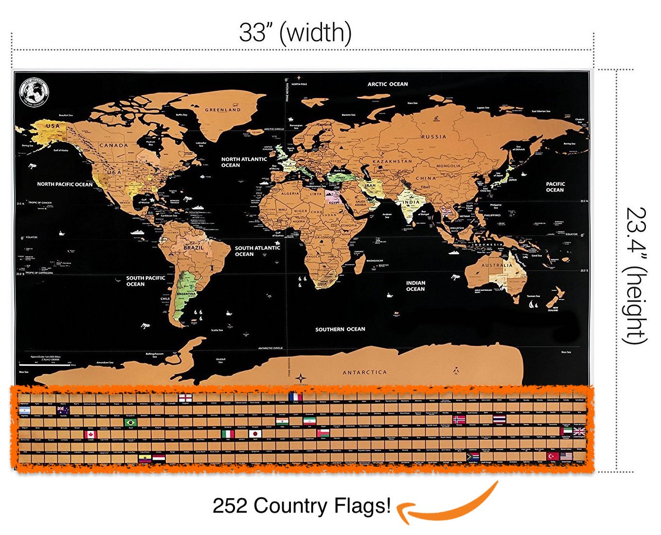 New Scratch Off Map Of The World Vacation Earth Poster Large XL Big Size Bonus Accessories, Detailed Design US Canada North South America Europe Asia States Outlined Trip Travel Planner Global Tracker by Tripinfusion (Image #4)
