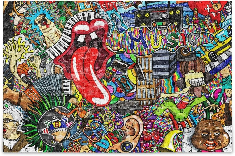 Gift for Adults and Kids 1000 Pieces Round Jigsaw Puzzle Rich Color Challenge TNYGoods-Graffiti Music Art