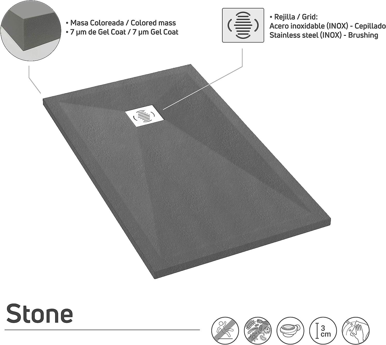 Incluye Sif/ón y Rejilla Efecto Pizarra y Extraplano Todas Las Medidas Disponibles Crocket Plato de Ducha Resina Antideslizante Stone Gris Cemento RAL 7005-90 x 170