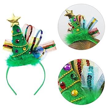 20.3 x 20cm Tree Fashion Headband Christmas Star Jewel Sequin Fascinator  Fluffy Fashion Headband Office Party cdb7dacc481