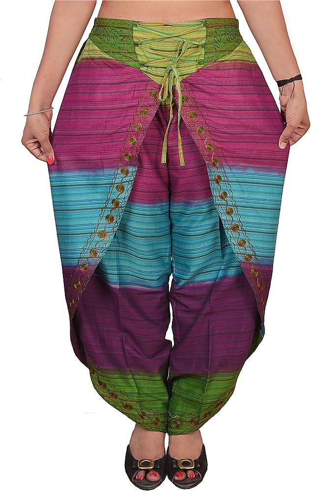 SNS Pure algodón Aladdin harén Dhoti Pant para Mujer Multi 124 Tamaño Libre: Amazon.es: Ropa y accesorios