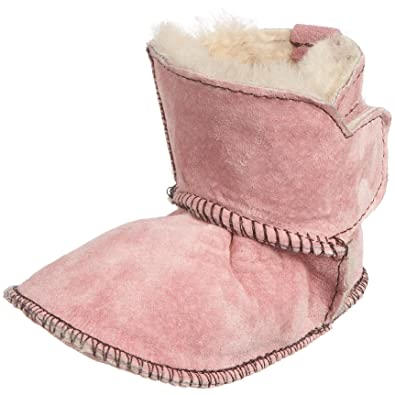 45b6e4cfeff17 Emu Australia Infant Baby Bootie Contrast Bootie Orchid Pink and Chocolate  B10311 Small