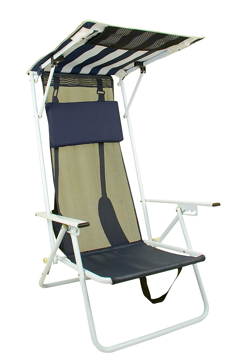 Beach chair with canopy - Amazon Com Quik Shade Folding Beach Chair Striped Navy Blue Camping Furniture Sports Outdoors