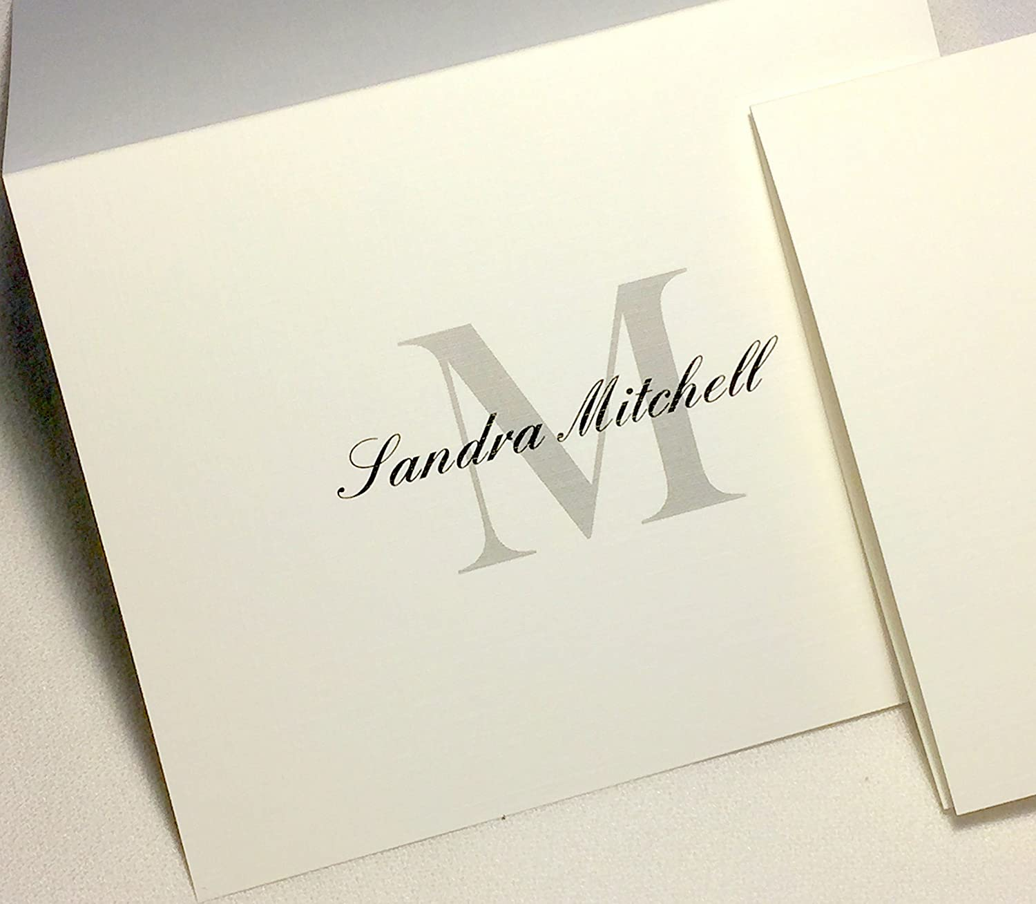 Matching Envelopes Included 50 Personalized Note Cards with Initial Plus Full Name Choose Large Script Initial in Blue or Block Initial in Grey//Black Blank Inside.