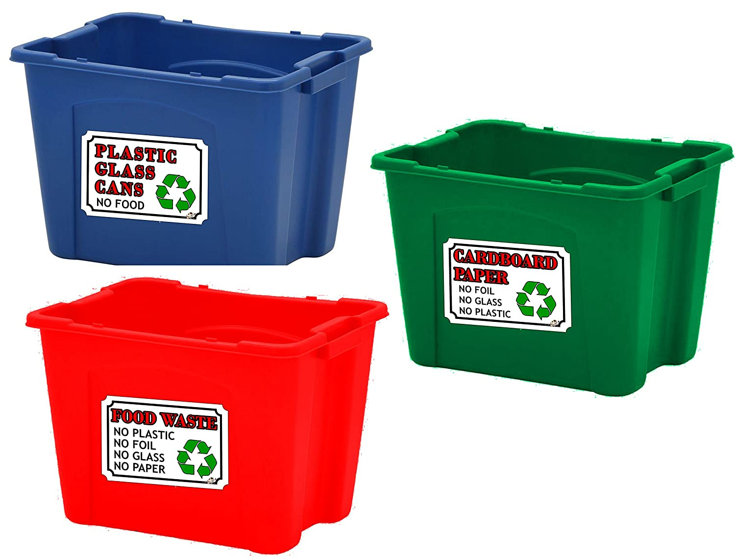 The Lazy Cow Recycling bin STICKERS set of 3 - A6 (105mm x 148mm) plastic, glass, food waste, rubbish