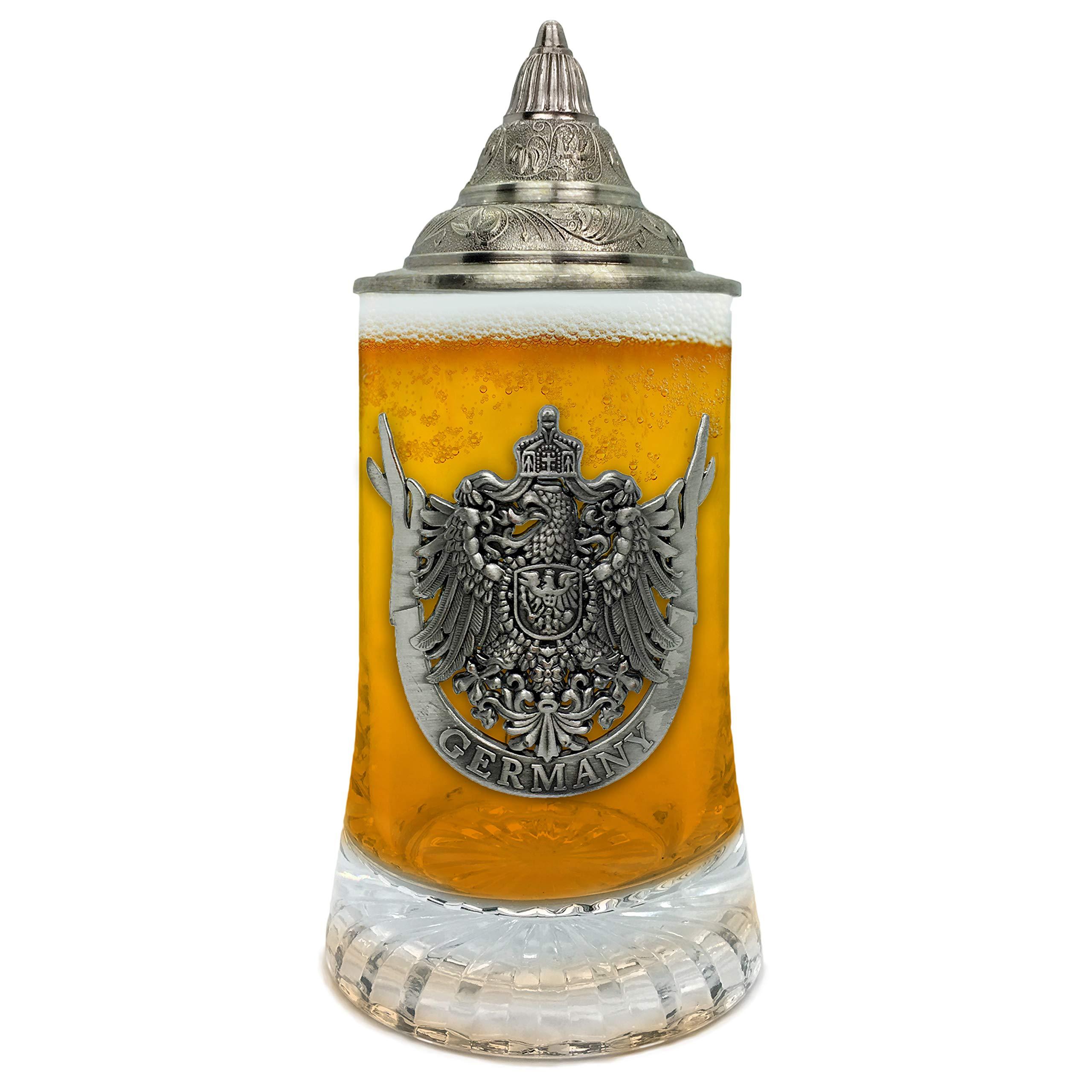 Beer Glass German Eagle Metal Medallion Bar Gifts for Men With Metal Lid Glass Mug by E.H.G. | .5 Liter