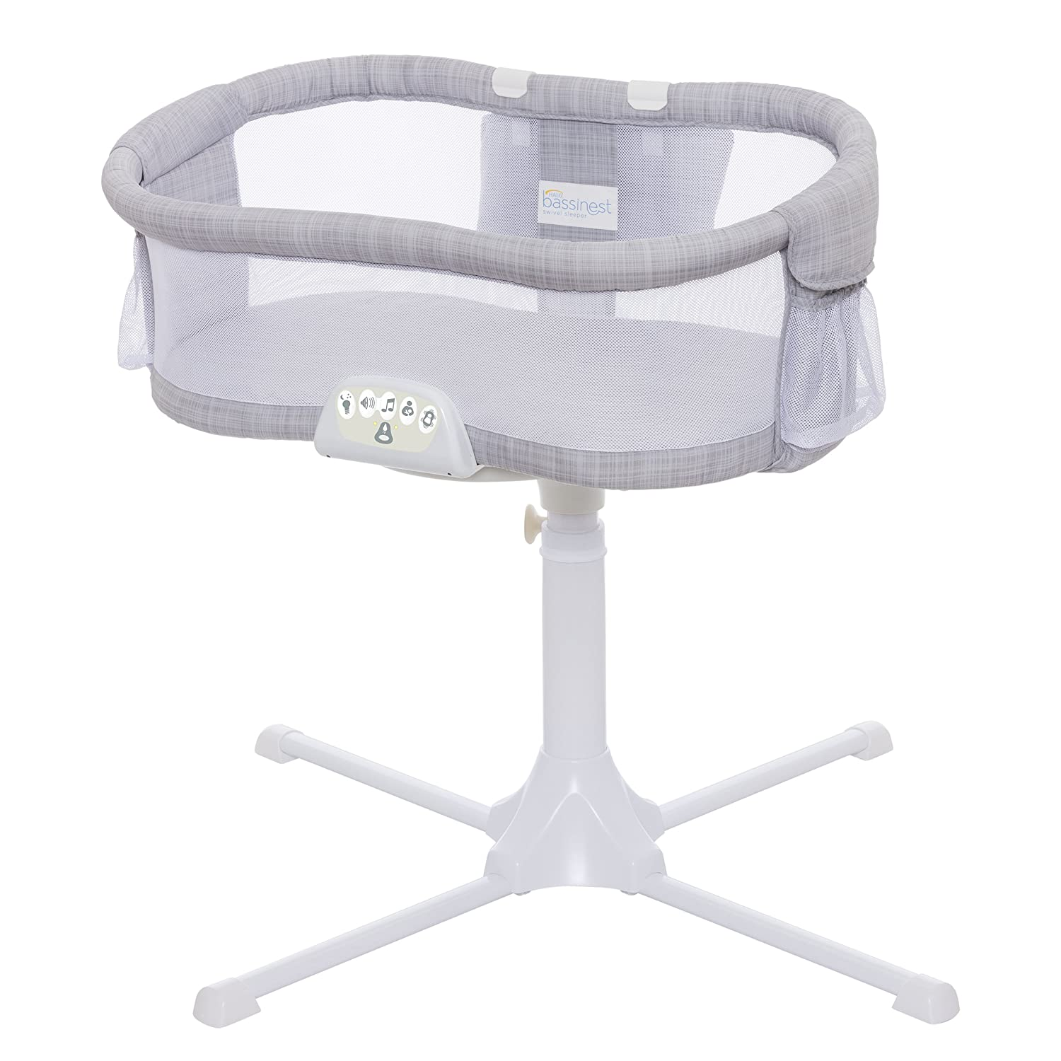 Halo Bassinest Luxe Plus Bassinet System in Grey Melange with Organic Cotton Sheet and Mattress