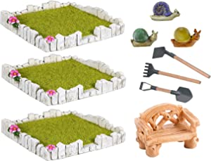 Mini Fairy Garden Set of 3 Yards Bench Tools and Snail Accessories set Terrarium Kit Miniature Houses and Figurines Garden Decor Outdoor Village Scene Craft Kit (Fairy Garden Yards)