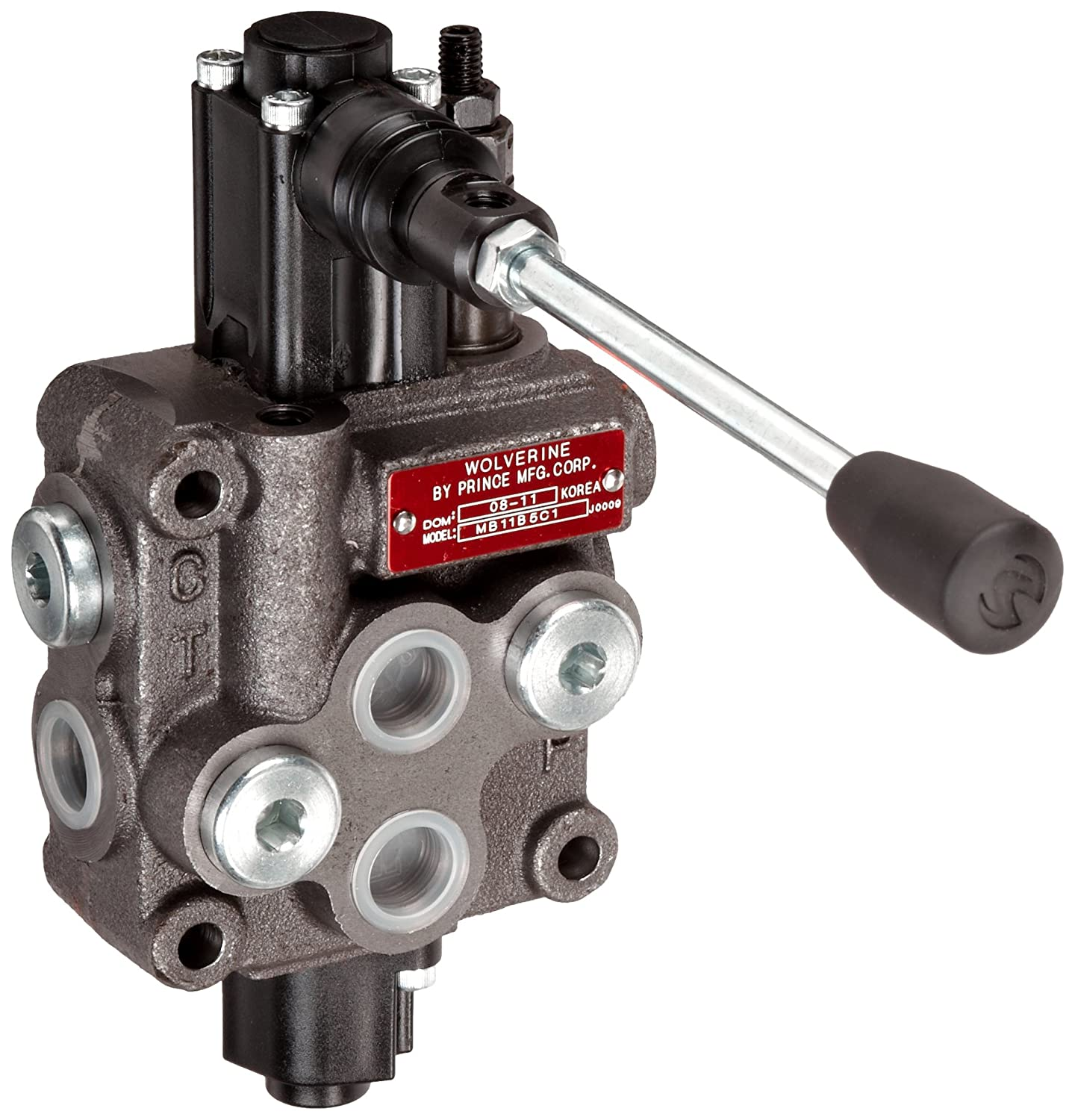 Prince MB11B5C1 Directional Control Valve, Monoblock, Cast Iron, 1 Spool, 4 Ways, 3 Positions, Single Acting Cylinder Spool, Spring Center, Straight Handle, 3500 psi, 8 gpm, In/Out: #8 SAE, Work #8 SAE Prince Manufacturing