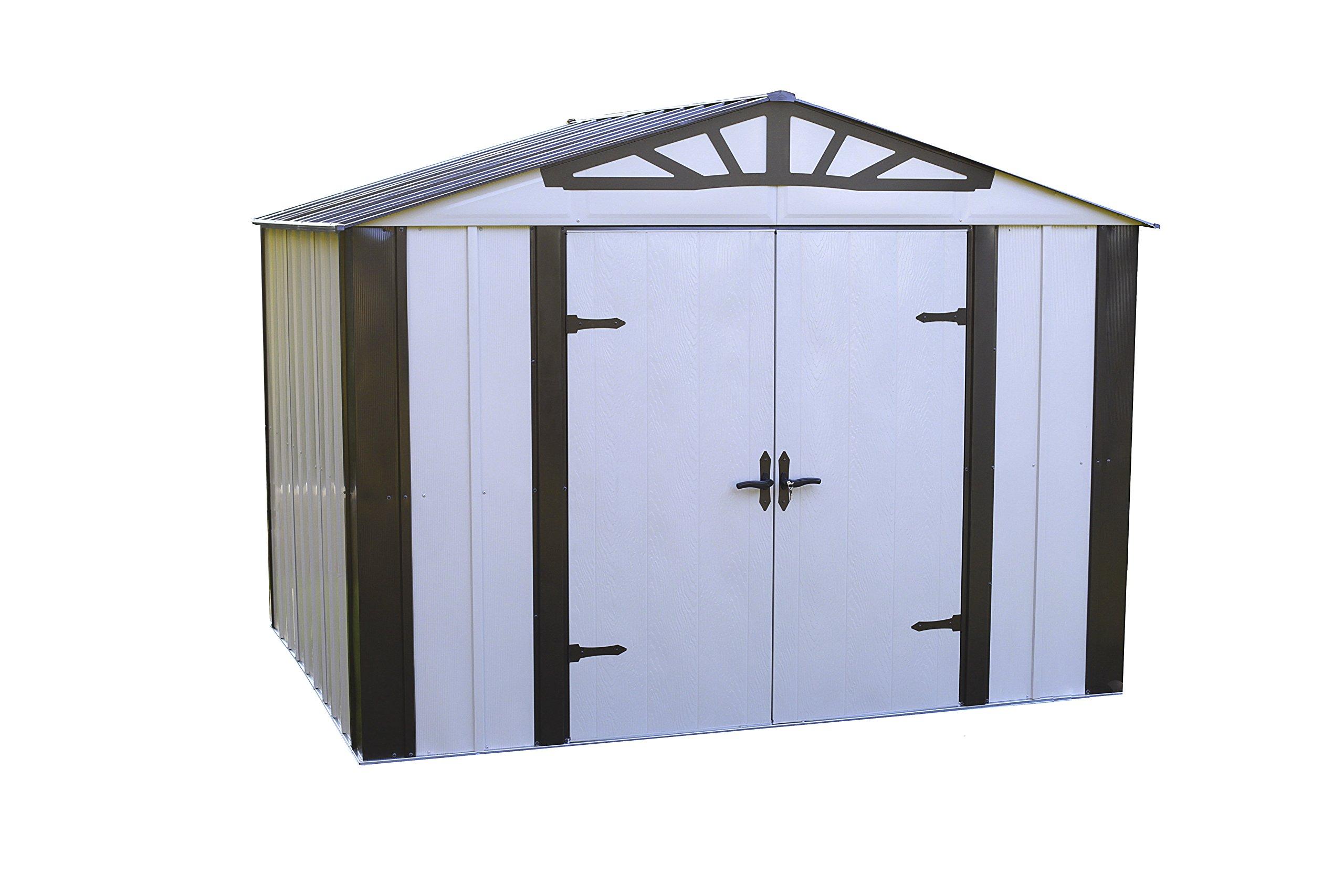 Arrow Designer Metro Shed Hot Dipped Galvanized Steel High Gable Swing Doors, 10'' x 8'', Java/Sand