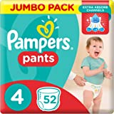 Pampers Pants Diapers, Size 4, Jumbo Pack - 9-14 kg, 52 Count