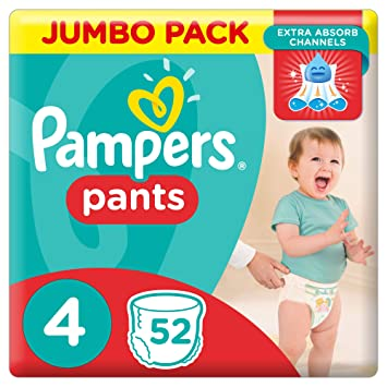 a17a0b7fd7 Pampers Pants Diapers, Size 4, Jumbo Pack - 9-14 kg, 52 Count ...