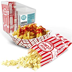 [125 Bags and 125 Trays Pack] 1 oz Striped Popcorn Bag and 3 lb Checkered Paper Food Tray - Red and White Grease Resistant Disposable Container for Movie Snacks Carnival Circus Party Concession Stand
