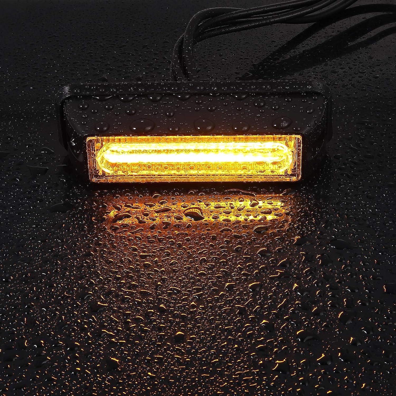 Justech 4PCS COB 12V//24V Lampe Stroboscopique Avertissement Avertissement Lumi/ère Ambre Balise Davertissement avec Allume-Cigare pour V/éhicule Voiture Remorque Caravane Van Camion Tracteurs