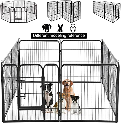 Dog Pen Extra Large Indoor Outdoor Back Or Front Yard Fence Cage Fencing Doggie Rabbit Cats Playpens Outside Fences With Door Dog Fence Playpen Heavy Duty 8 Panels 40 Inches