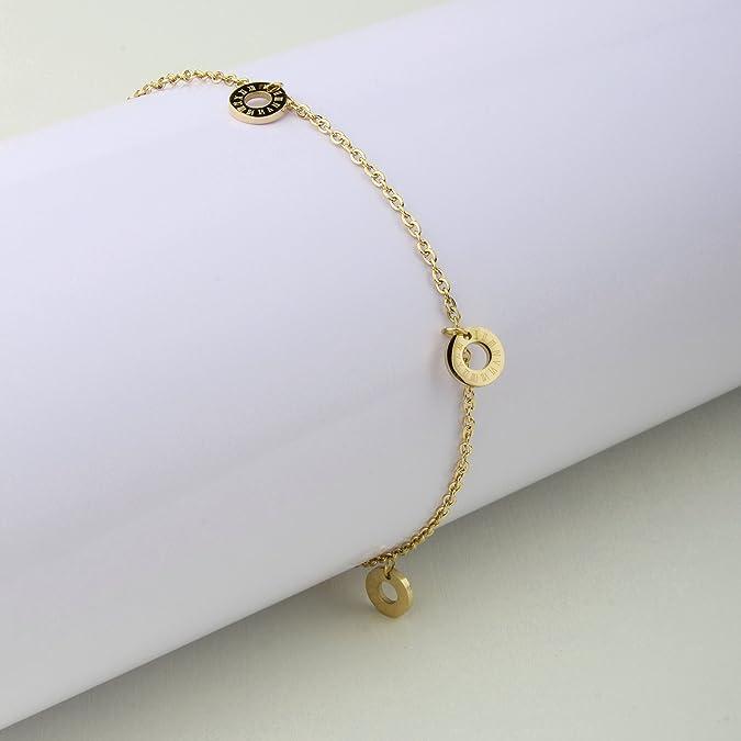 Armband Damen mit Anhänger (Römische Uhr) von BRANDLINGER SCHMUCK. Hochwertiges  Armkettchen mit 3 Micron und 18 Karat Goldplattierung. Kettenlänge 17+4cm  ... ee11600345