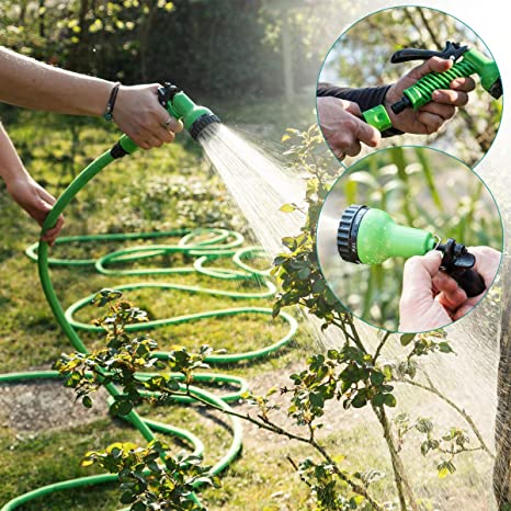 Tubo Estensibile per Irrigazione Giardino con Pistola 7 funzioni Getti Acqua in Gomma e Tessuto con Adattatore lunghezza da 7m-22m