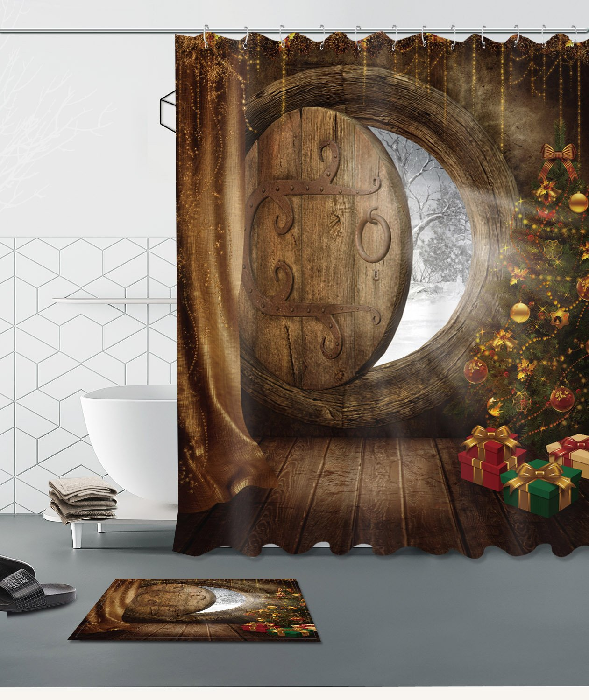 Merry Christmas Season Eve New Year Decorative Decor Gift Shower Curtain Polyester Fabric 3D 72x72'' Mildew Resistant Waterproof Lonely Log Cabin Round Window Tree Bathroom Bath Liner Set Bath Mat