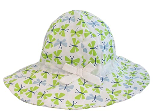 b3bef4af8c92e Kids Girls White Green Butterfly Wide Brim Bucket Sun Hat with Chin Strap  (L- Age 2-3)  Amazon.co.uk  Clothing