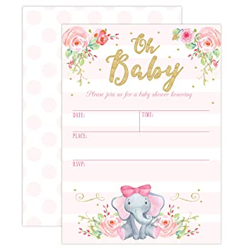 Amazon Com Girl Elephant Baby Shower Invitation Pink Elephant Baby
