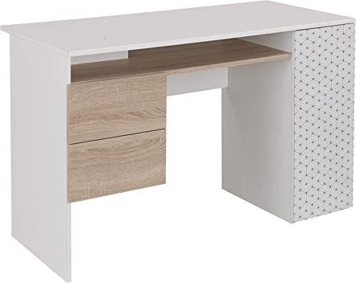 Bari White and Light Oak Home Office Modern Writing Computer Desk