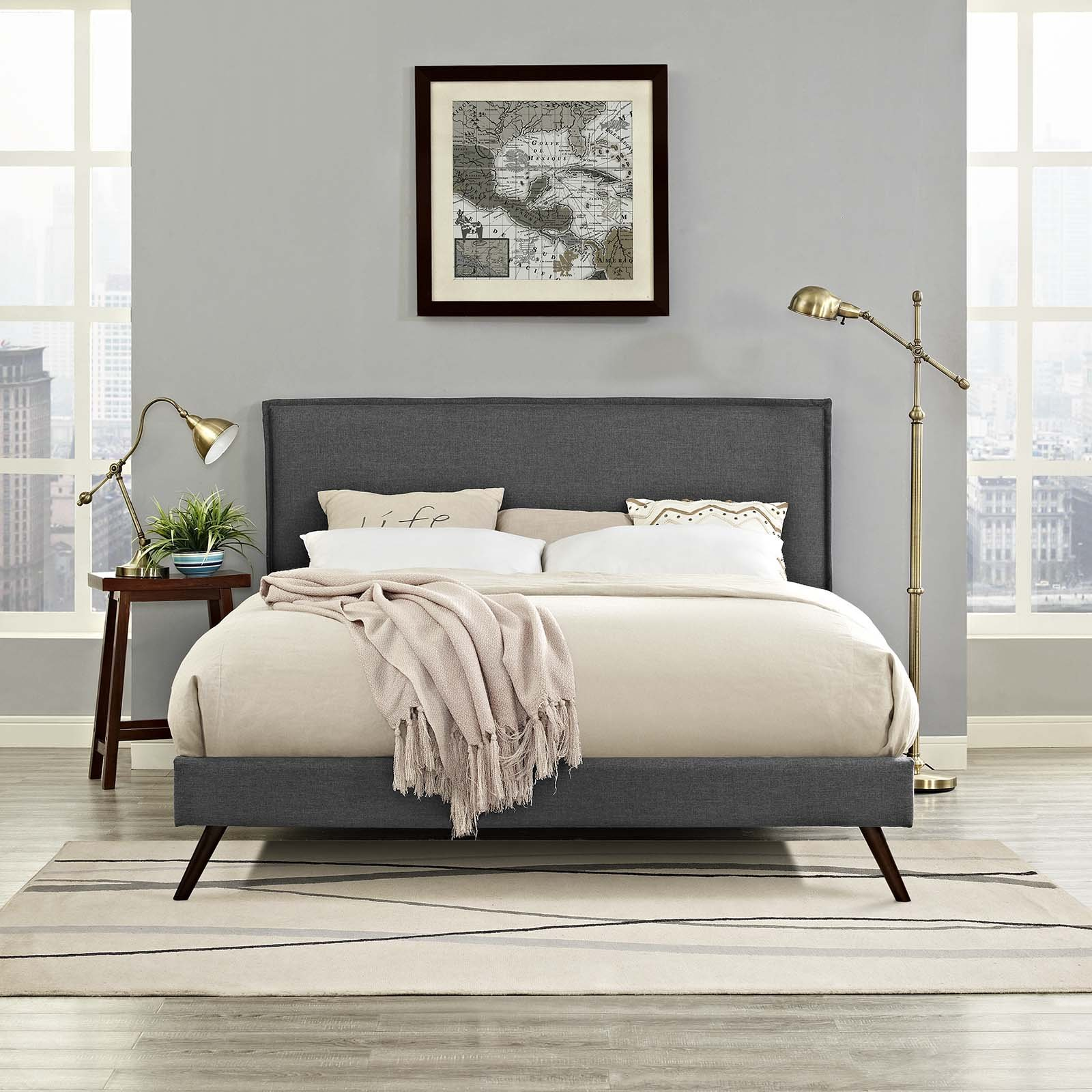 Modway Amaris Upholstered Queen Platform Bed Frame With Round Splayed Legs in Gray by Modway