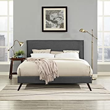 Magnificent Modway Amaris Upholstered King Platform Bed Frame In Gray With Splayed Legs Gmtry Best Dining Table And Chair Ideas Images Gmtryco