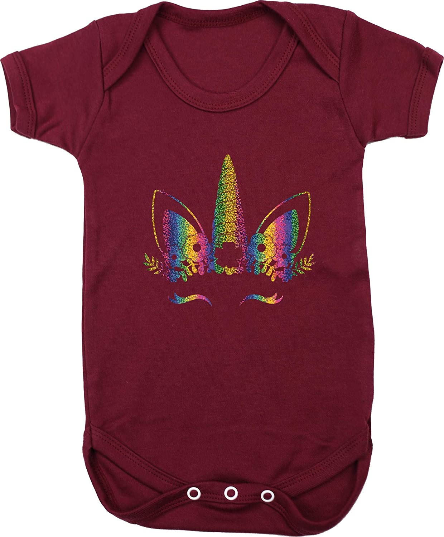 Short Sleeve Boys Girls Hippowarehouse Rainbow Flower Unicorn Baby Vest Bodysuit
