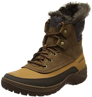 Merrell Snowbound Mid Waterproof Damen Stiefel - Schwarz-Tan-40 x7CE5