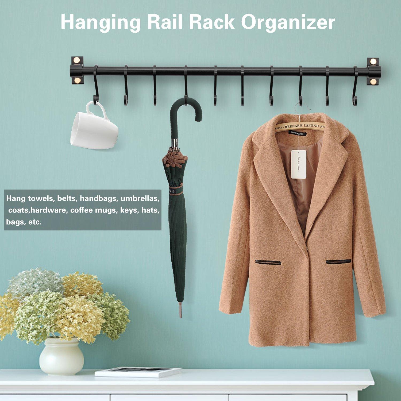 Amazon.com: Kitchen Utensil Rack Wall Mount Rail Pot Pan Lid Rack ...